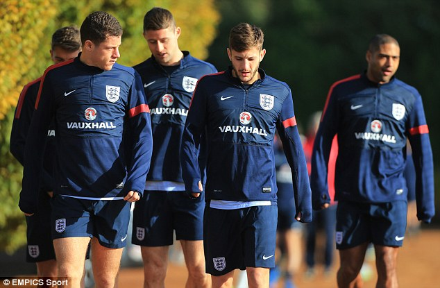 Rising star: Southampton's Adam Lallana (second from right) is expected to play some part against Chile