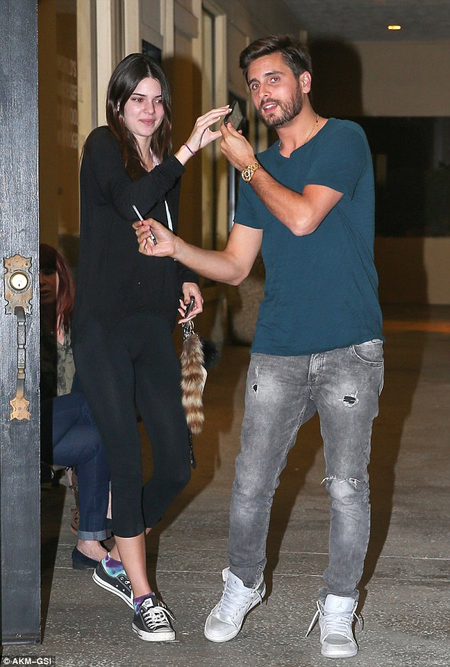 Brotherly banter: Kendall Jenner leaves Shibua sushi in Calabasas after having dinner with her brother-in-law Scott Disick.