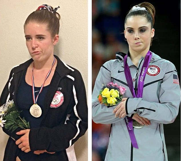 Bell's Palsy sufferer Leslie Barrett, Leslie Barrett turned her condition into a brilliant Haloween costume based on the 'not impressed' U.S. gymnast McKayla Maroney