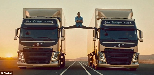 A feat in acrobatics: Jean Claude Van Damme showed off his incredible flexibility in a new commercial for Volvo Trucks