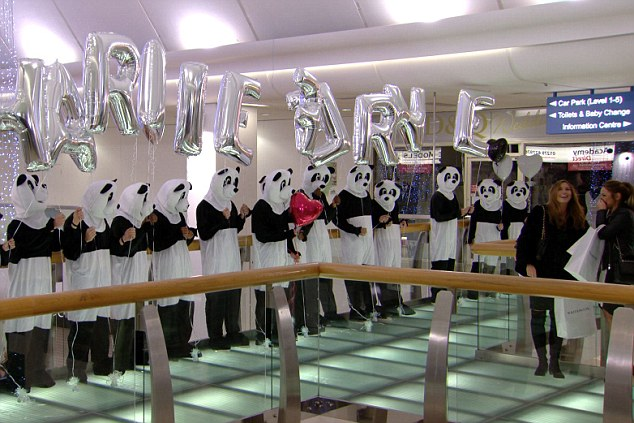 The 'romantic surprise' of the series finale was organised by Charlie and was a flashmob of men dressed in panda costumes - like bank robbers. They presented Fern (second right) with a line of balloons spelling CHARLIE FRNE. So, illiterate pandas basically