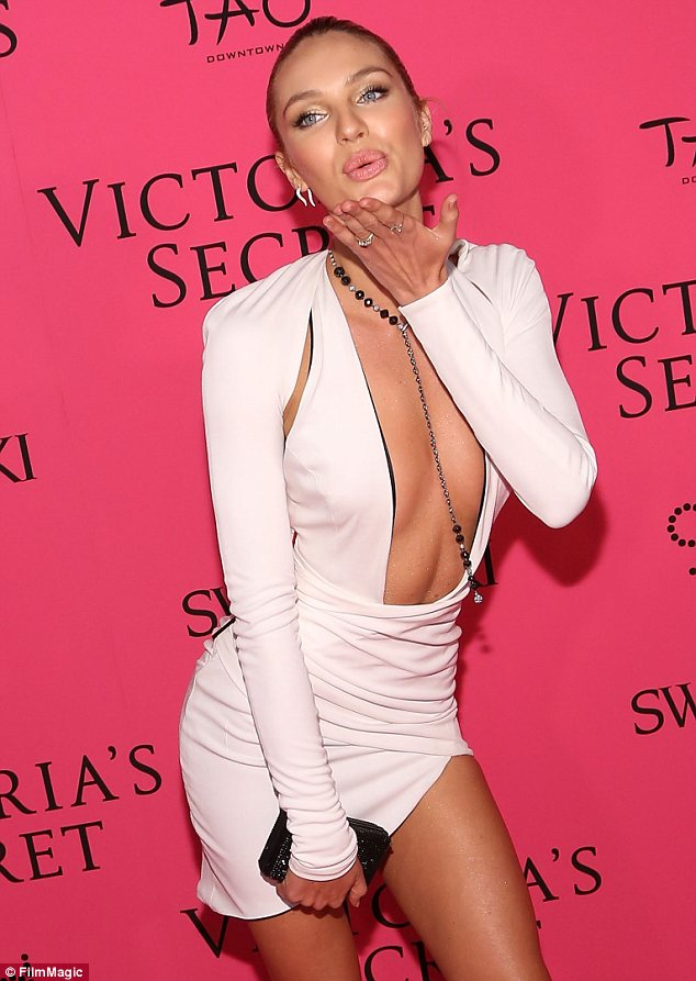 Daring: She may have worn the $10 million Fantasy Bra on the catwalk earlier but Candice Swanepoel couldn't wear any bra with her outfit for the after party at TAO Downtown