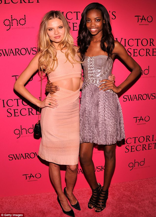 Angels of the future: Magdalena Frackowiak and Maria Borges displayed their star style as they joined the other models at the bash