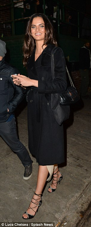 Barbara Fialho is seen leaving the 2013 Victoria's Secret Fashion afterparty looking happy