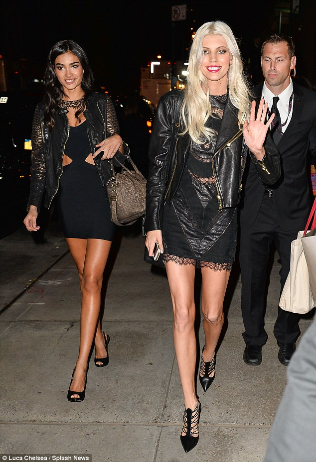 Devon Windsor and Izabel Goulart strut their stuff in as they call it a night at the 2013 Victoria's Secret Fashion show party
