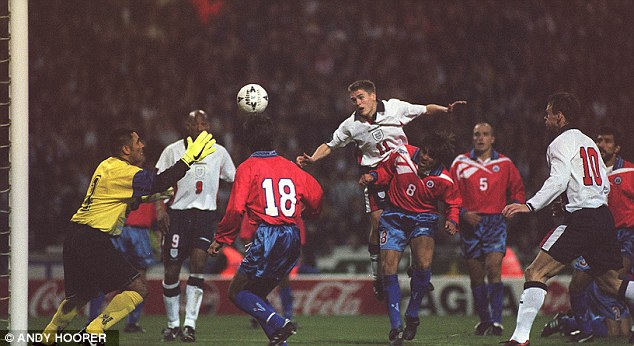 So close: Owen was off target with this header in the Chile match but he would get his first England goal three months later against Morocco