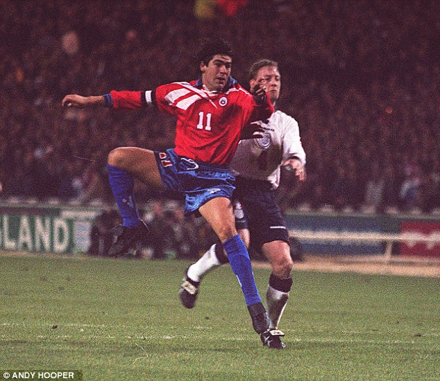 Marcelo Salas scores for Chile at Wembley