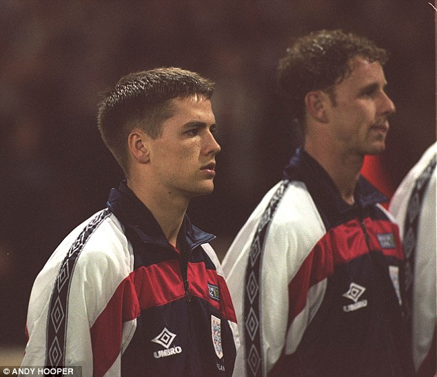 First cap: Michael Owen made his England debut in the match at the age of 18 years and 59 days - the youngest England debutant in the 20th century