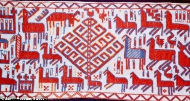 Worship: Among the scenes included in the stunning Överhogdal tapestries is this one which shows Yggdrasil