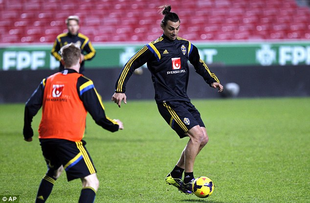 Silky touch: Zlatan Ibrahimovic controls the ball as Sweden prepare to take on Portugal
