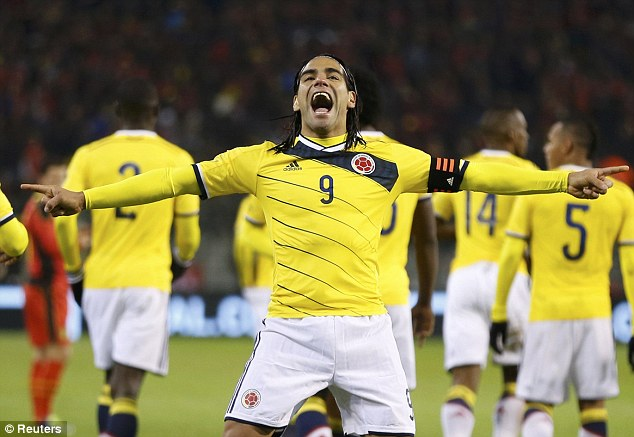 Making a good impression: Colombia's Radamel Falcao scored the first in their 2-0 win in Brussels