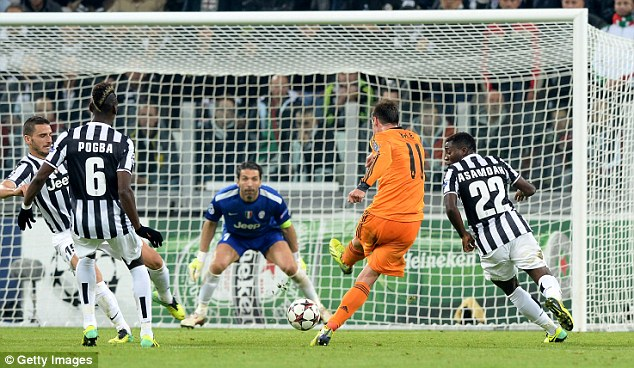 On the big stage: Bale scored during Real Madrid's Champions League draw at Juventus
