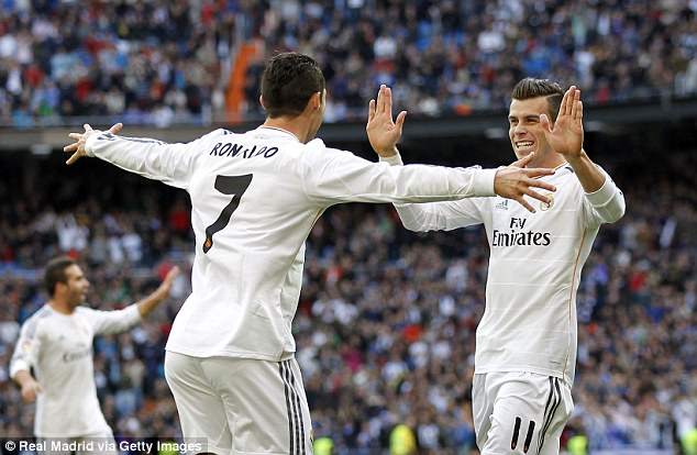 On target: After a sluggish start to his Real Madrid career, Bale netted twice in a 7-3 win over Sevilla