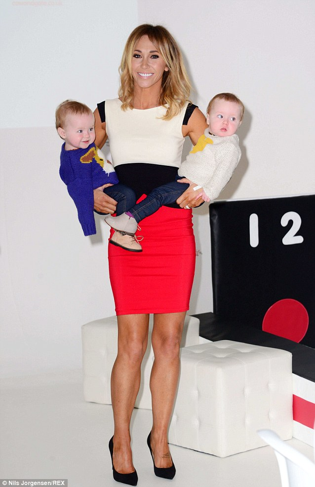 Baby diners: Jenny Frost launches the Cow & Gate pop-up restaurant with her nine-month old twin daughters Nico and Blake