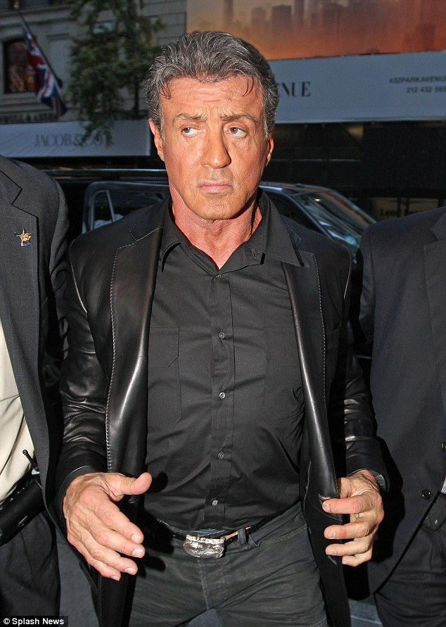 You've been tangoed: Sylvester Stallone, 67, has been spotted in New York with a rather unfortunate orange face
