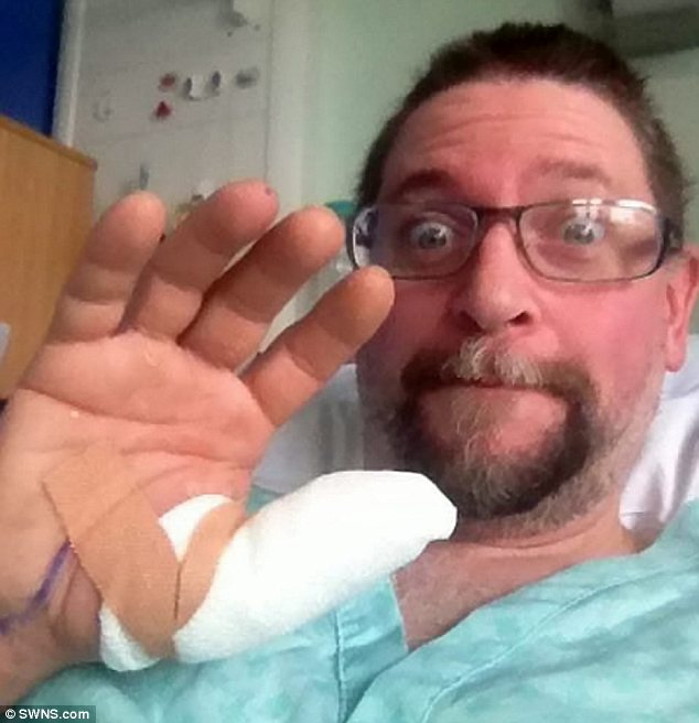 In hospital: The 45-year-old had to have two operations to drain the venom from his arm in August