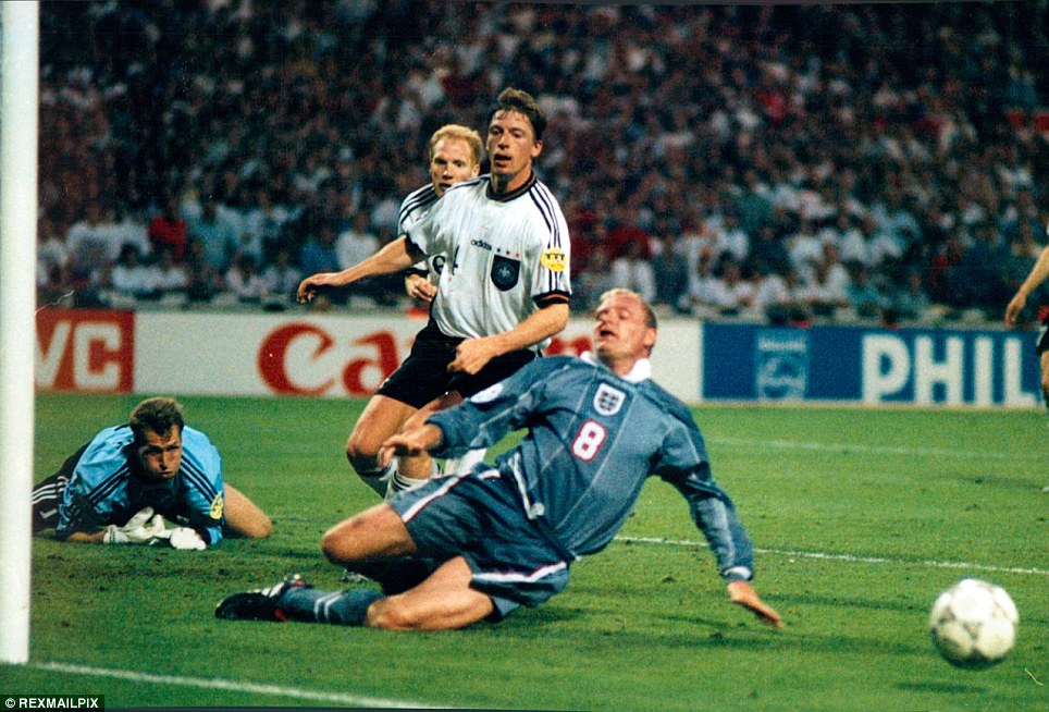 Football Interntional European Championship 1996 Semi Final Match  England v Germany 1-1 (Germany won 6-5 on penalties) Paul Gascoigne just fails to connect in extra time . REXMAILPIX.
