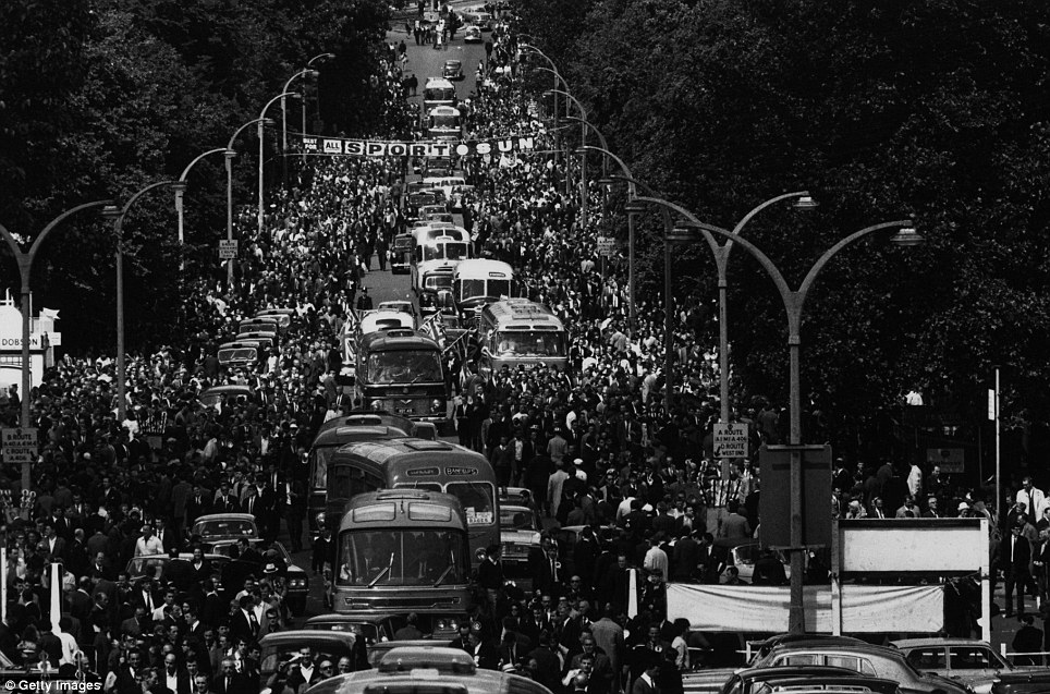 30th July 1966:  Crowds arrive at Wembley Stadium, London, for the 1966 World Cup Final between England and West Germany, which England won 4-2 after extra time.