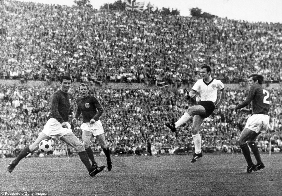 Sport, Football, International Match in Hanover, West Germany 1 v England 0, West Germany's Franz Beckenbauer scores the winning goal as he shoots past England defenders left-right, Brian Labone, Bobby Moore and Keith Newton