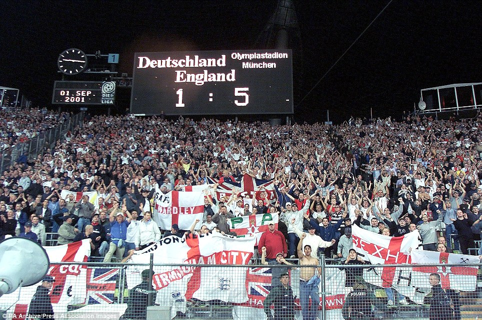 The scoreboard shows the final score after the Fifa World Cup European Qualifying Group Nine game between Germany and England at the Olympic Stadium, Munich, Germany.