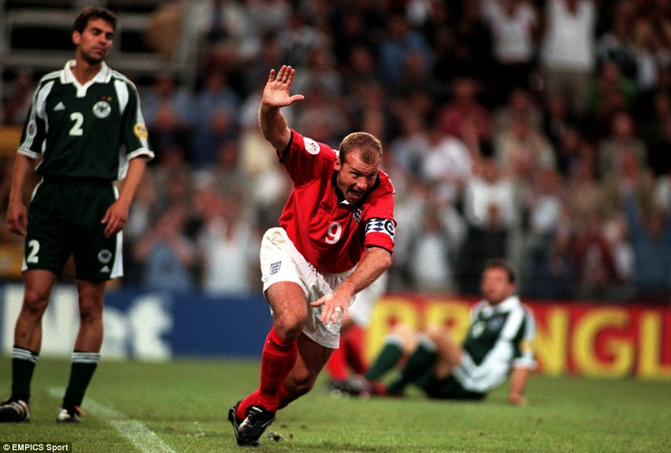 Alan Shearer celebrates putting England's 1-0 in front of Germany