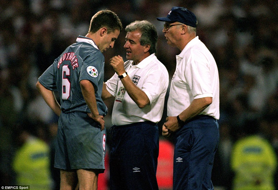 England Manager Terry Venables and Don Howe console Gareth Southgate after his penalty miss
