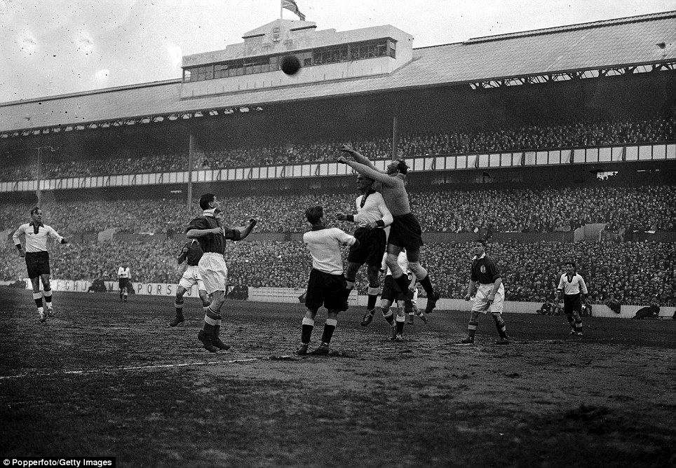 Football, 4th December 1935, White Hart Lane, London, England 3 v Germany 0, Jakob the German goalkeeper clears from an England attack during the match at Tottenham, England