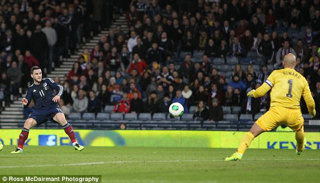 Missed chance: Scotland's Craig Conway fails to beat Tim Howard in first half