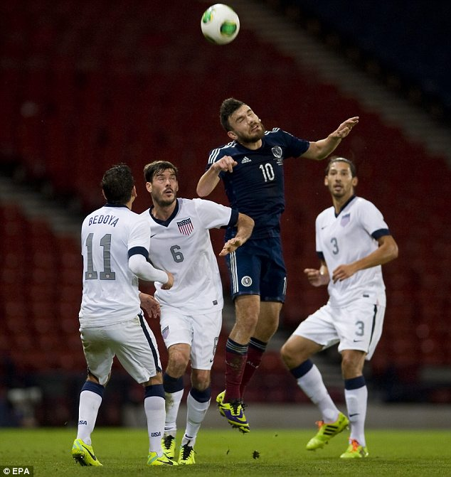 High jump: Scotland's Robert Snodgrass heads the ball