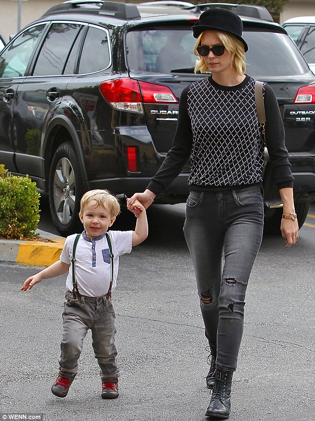 Mommy and me: January Jones and her mini-me son Xander stepped out in Los Feliz on Friday