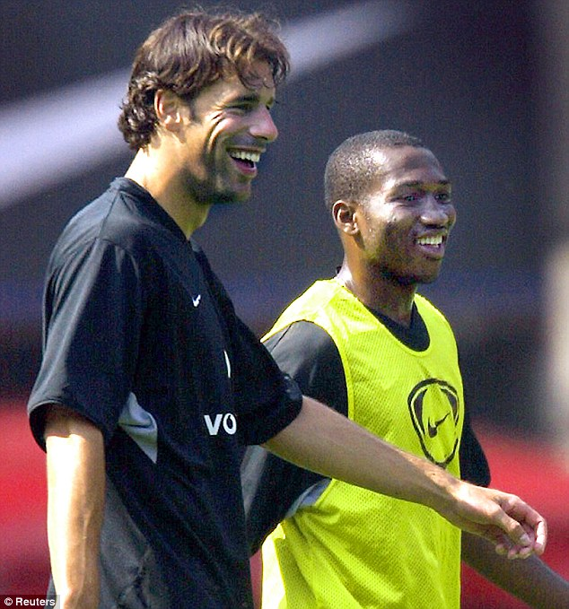 Good company: Djemba-Djemba joined a side with names including Ruud van Nistelrooy