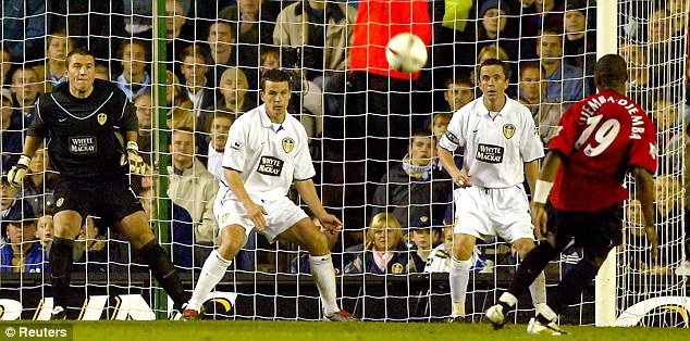 Extra effort: The Cameroon star scored in added time for United to beat Leeds in the 2003 League Cup