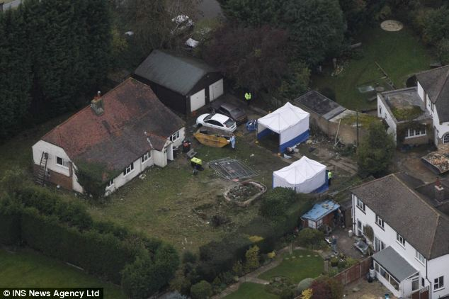 Gardeners working at the house, set within an acre of land, spotted the body in the well in Surrey
