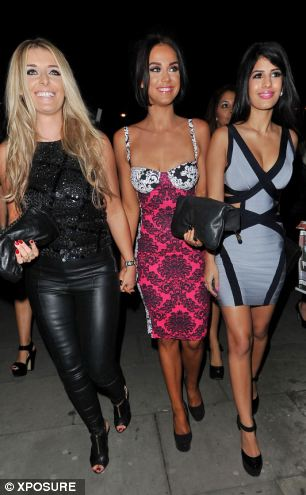 Vicky Pattison (centre) on a night out in Essex on Friday