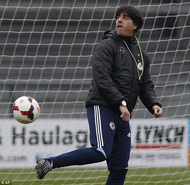 Skills: Germany's coach Joachim Low kicks the ball around during the training session