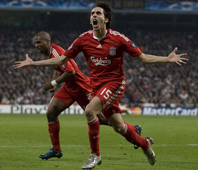 Happier times: Benayoun (centre) played 143 games for Liverpool, scoring 29 goals