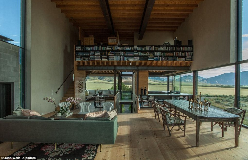 Stunning vistas: The box-like interior is all about the huge windows, with their big sky views of the seasonally changing landscape of the desert and nearby Sawtooth Mountains