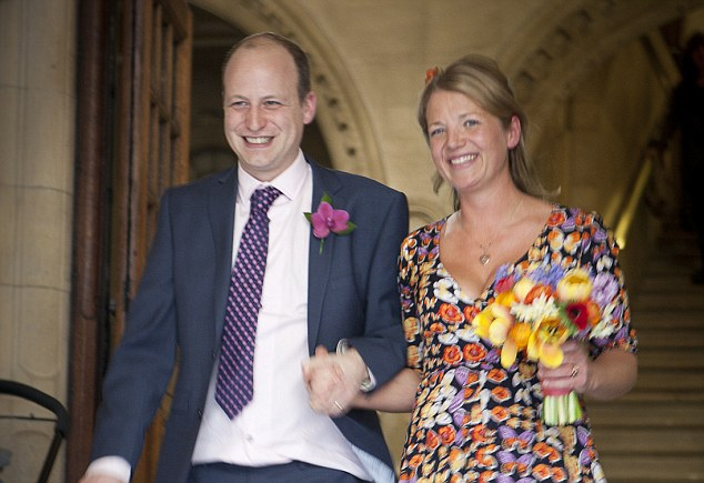 Vital support: Clover with her husband Pete on their wedding day