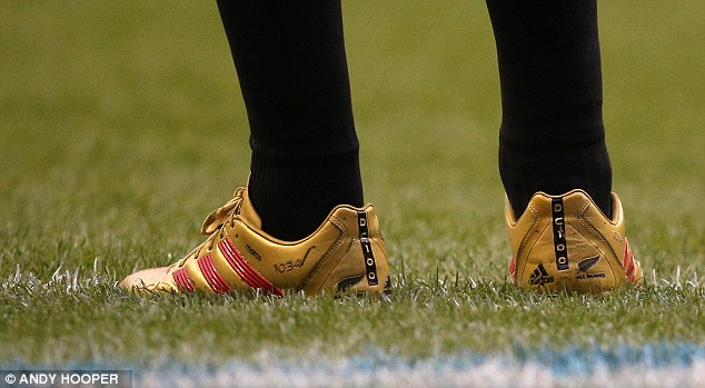 Surprise: Dan Carter wore golden boots to mark his 100th cap, but the great Jonny Wilkinson would not have done the same