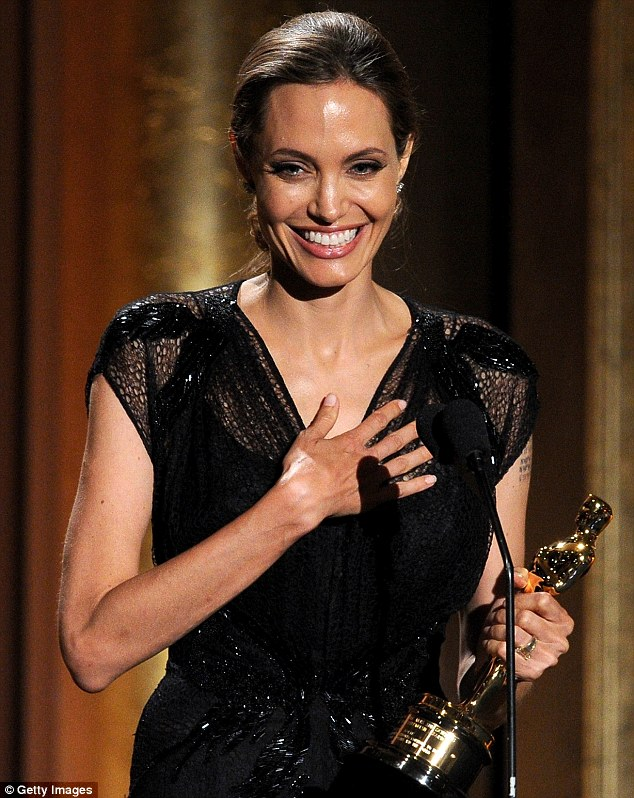 Great honor: Angelina Jolie accepts the Jean Hersholt Humanitarian Award at the Academy of Motion Picture Arts and Sciences' Governors Awards at The Ray Dolby Ballroom at Hollywood & Highland Center