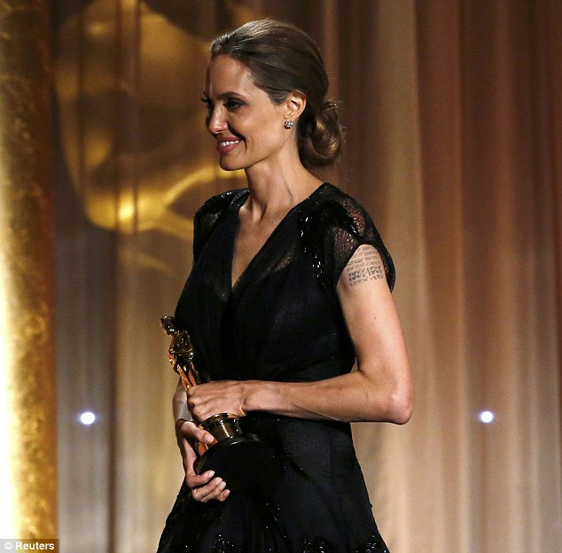 Gratitude: 'To stand here today means that I did as she asked. And if she were alive, she would be very proud. So thank you for that,' said Jolie