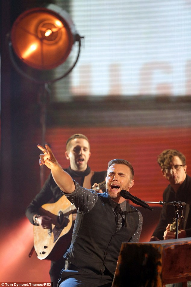 Barlow and sons: Gary Barlow also performed his Mumford and Sons esque new single Let Me Go on the show