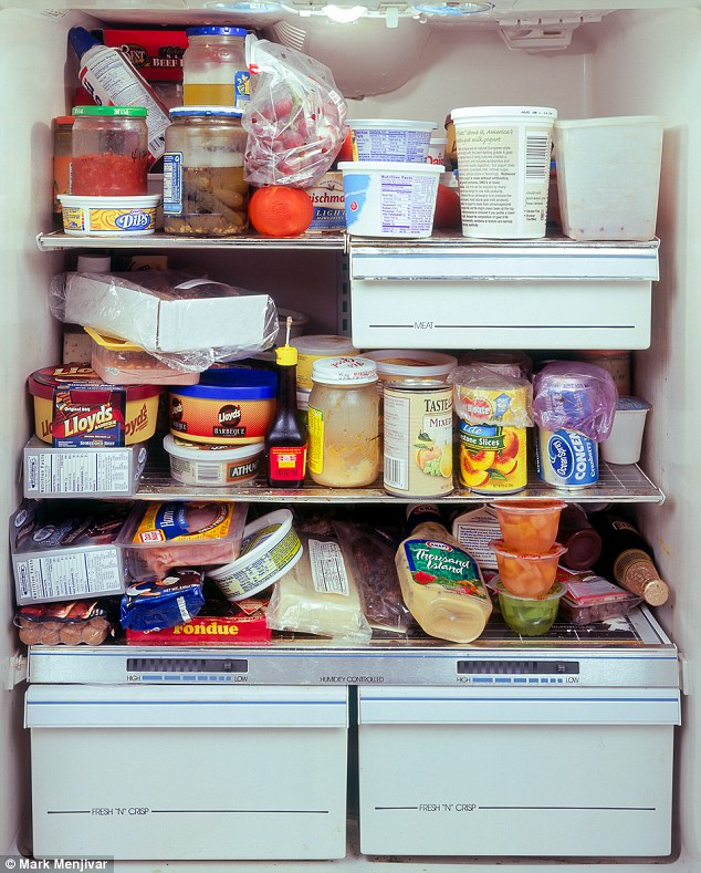 Piled high: This full fridge belongs to the owner of a now-defunct amusement park in Alpine Texas who is a former WWII prisoner of war