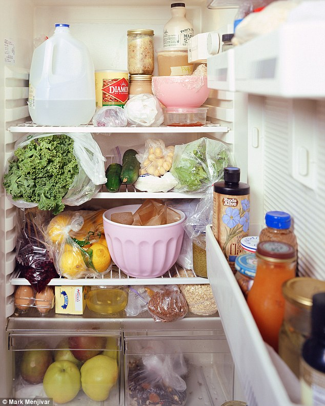Fresh produce: This is the fridge of a 'food artist' from Brooklyn, Nwe York, who runs a small vegan bakery from her apartment