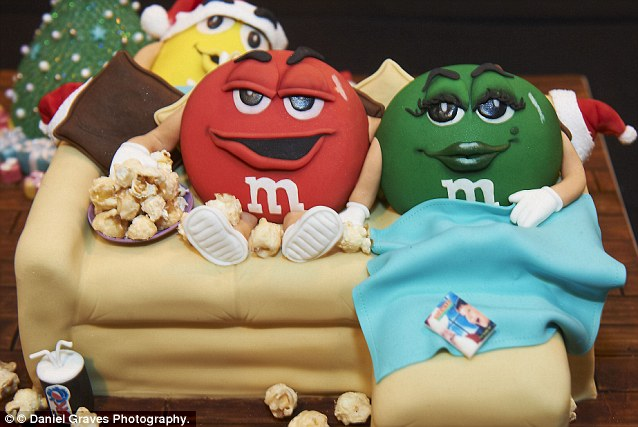 The M&M cake also channels some comic elements as well as adding a touch of Christmas