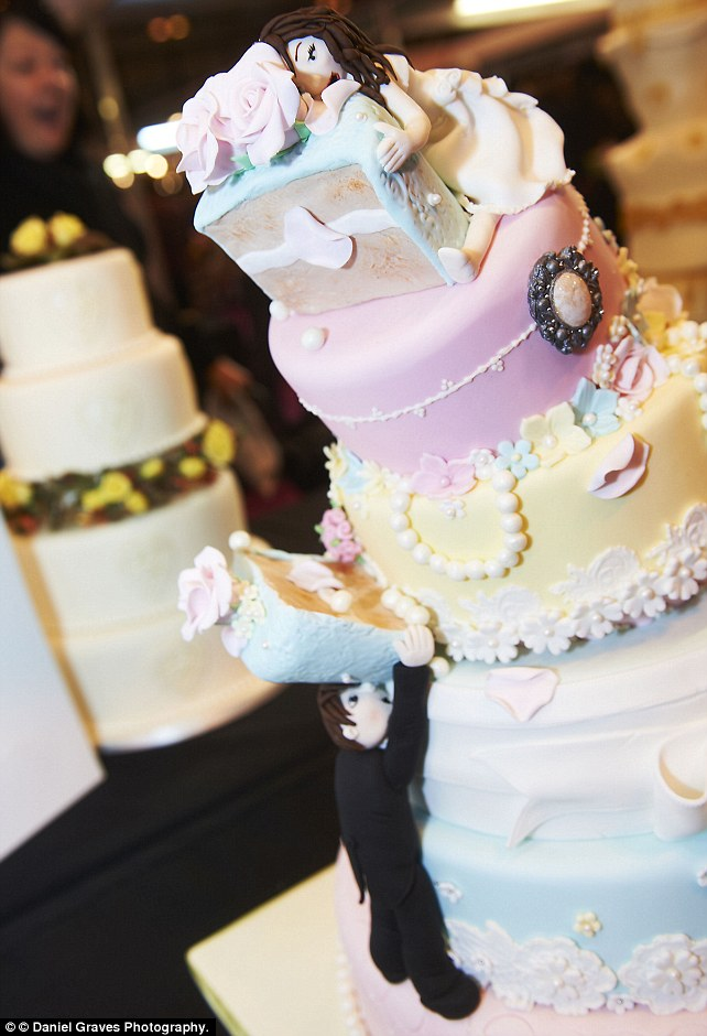 This comical multi-layered wedding cake would certainly raise a few a smiles on your special day