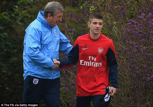 Next star? England boss Roy Hodgson speaks to Arsenal youngster Dan Crowley at a Colney training session