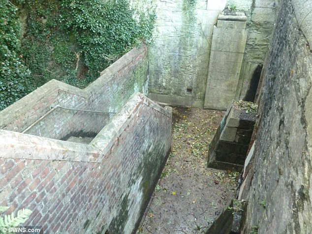 Bargain basement: The entrance to the 200-year-old tunnels which started off life as a moat, but were drained during the Napoleonic Wars so they could be filled with captured French soldiers and sailors