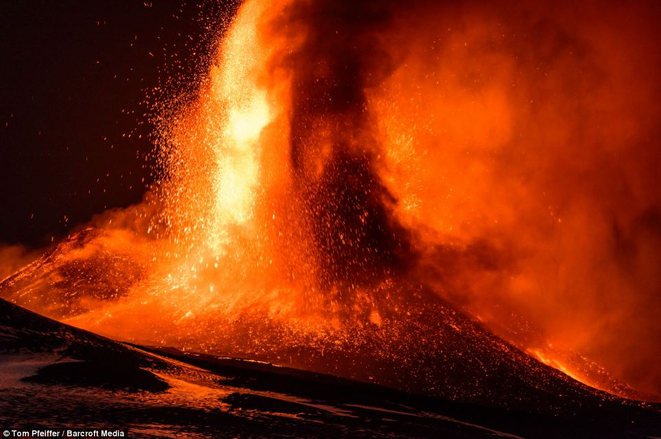 Violent: Tom Pfeiffer, the German geologist who captured the moment, said the eruption was violent
