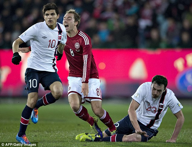 Ouch: Denmark's Christian Eriksen screams in pain after being caught by a late tackle